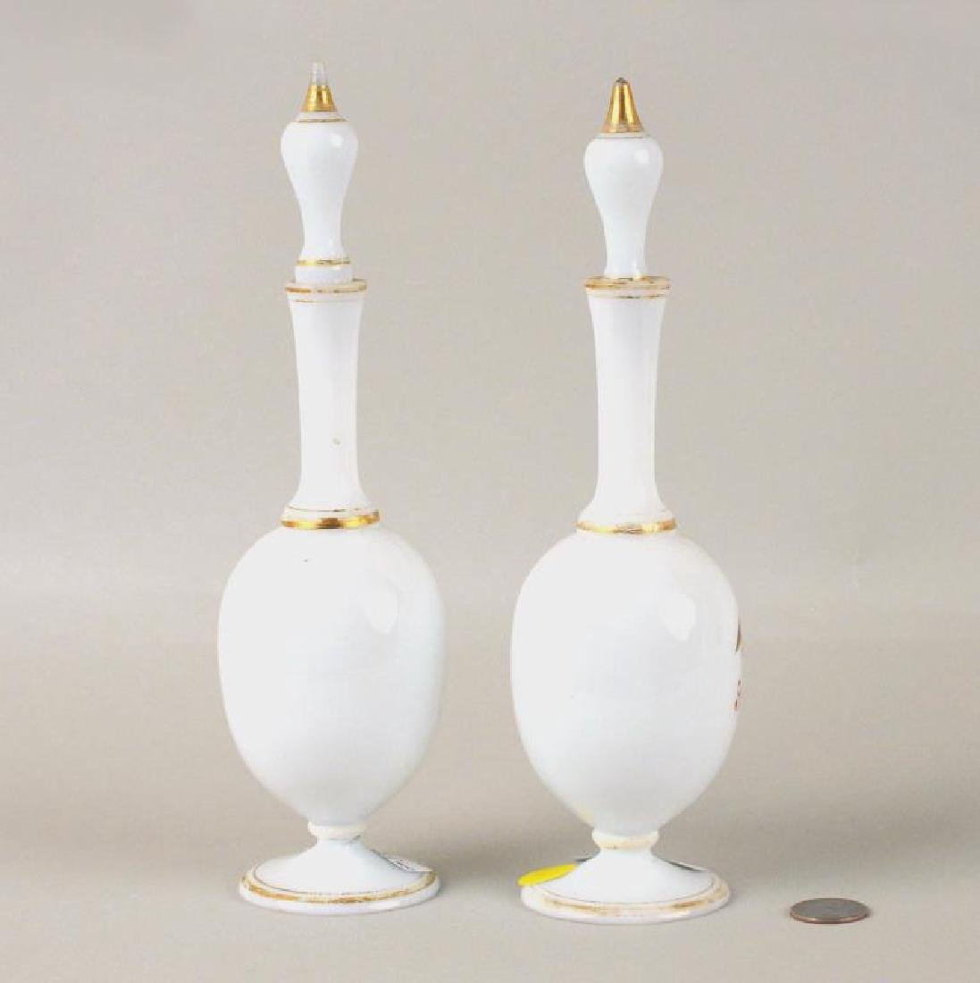 Pair Possibly Bristol Glass Cologne Bottles - 2