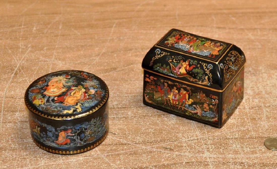 Two Russian Porcelain Transfer Decorated Boxes