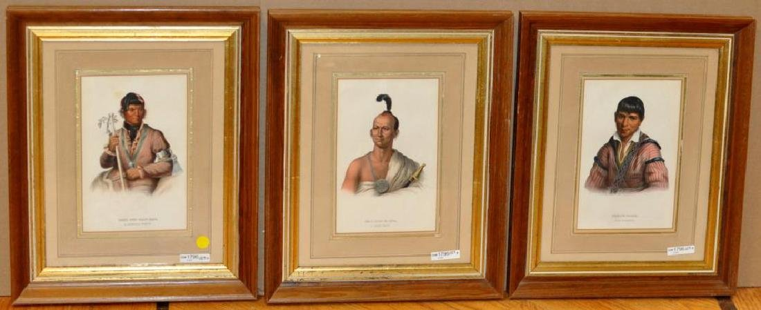 3 Framed Hand Colored Lithographs, Indian Chiefs