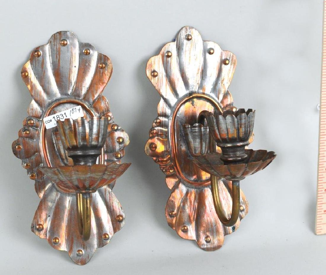 Pair Of Silvered Metal Sconces