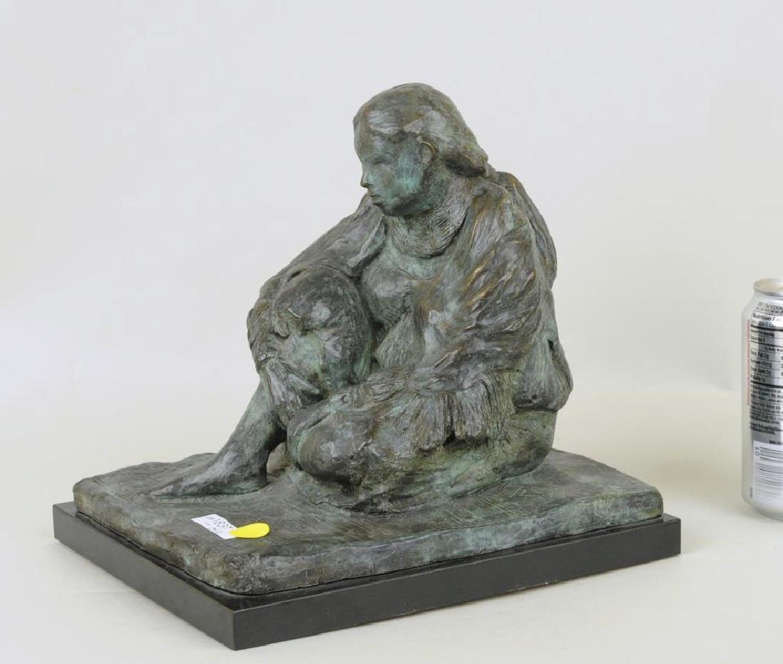 Bronze Sculpture Seated Native American Figure
