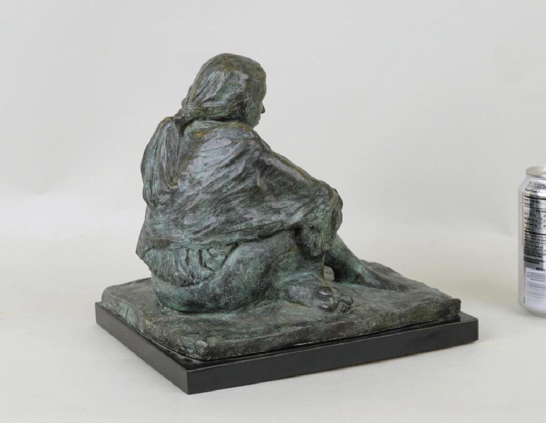 Bronze Sculpture Seated Native American Figure - 2
