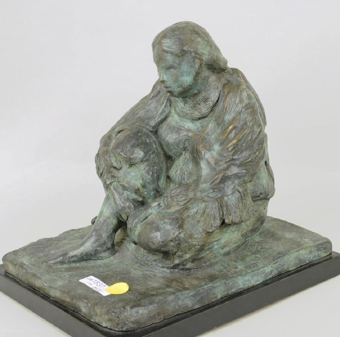 Bronze Sculpture Seated Native American Figure - 4