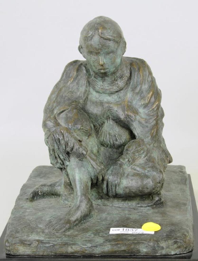 Bronze Sculpture Seated Native American Figure - 5