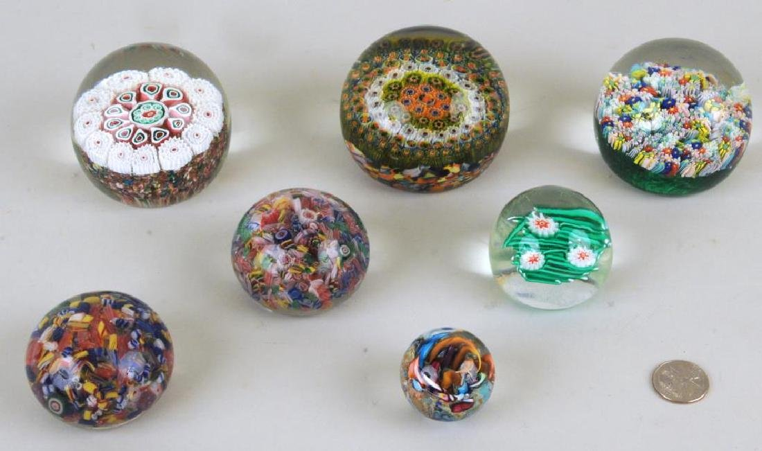 Group Of Six Vintage Millefiore Paperweights