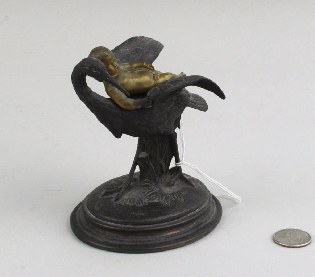 Small Bronze Group With Infant & Stork