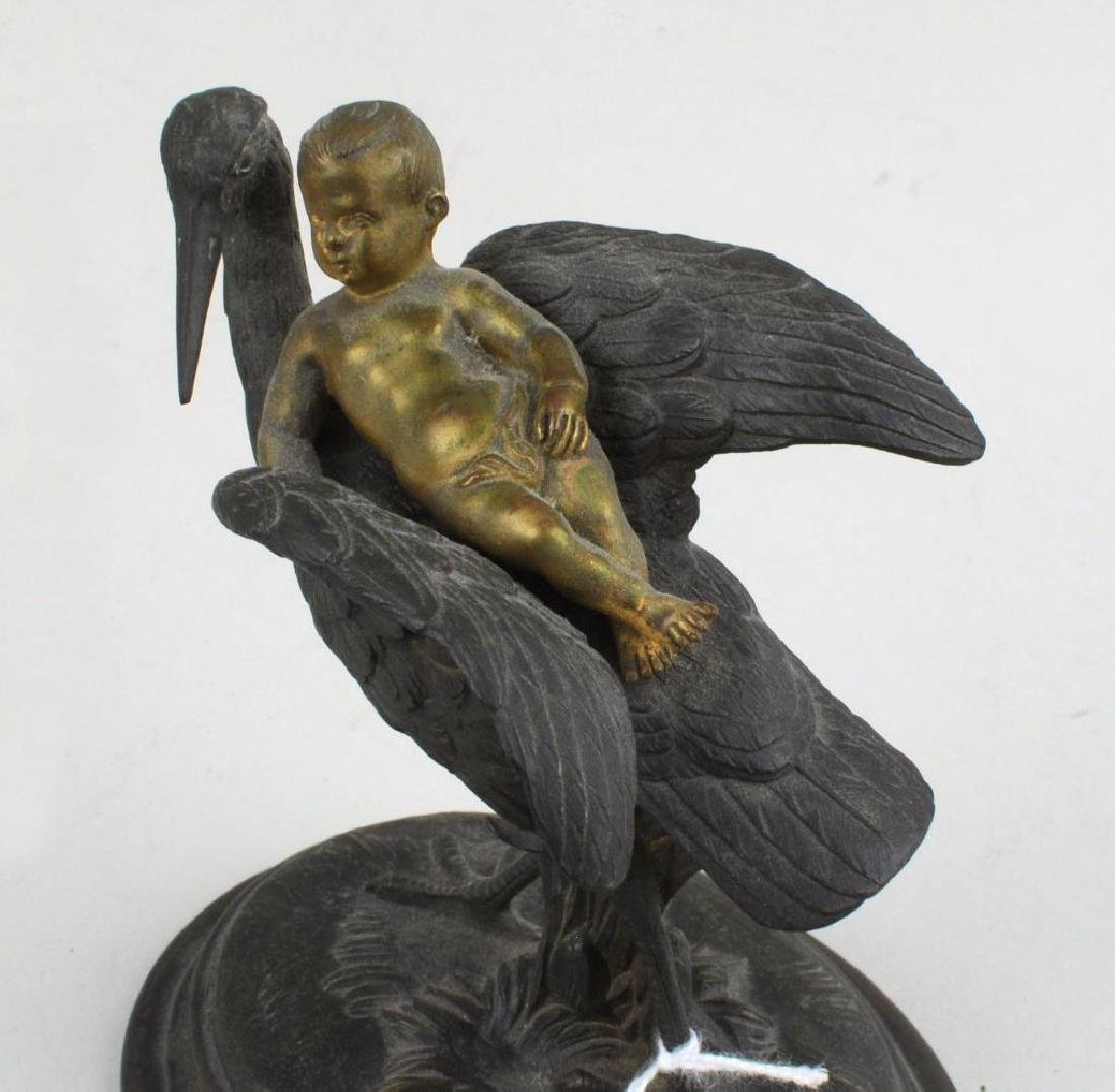 Small Bronze Group With Infant & Stork - 4