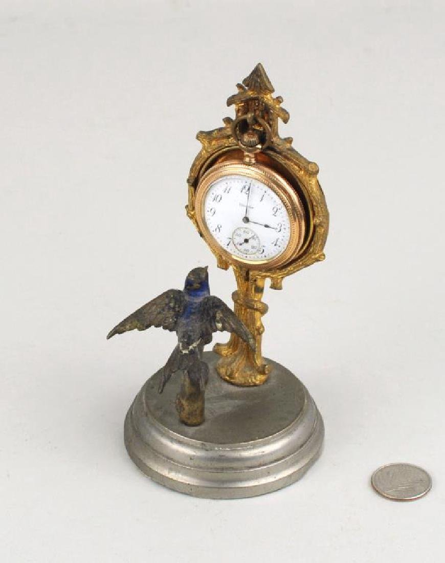 Illinois Gold Filled Pocket Watch On Stand