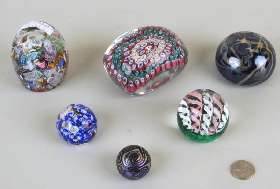 Six Vintage Millefiore/Art Glass Paperweights