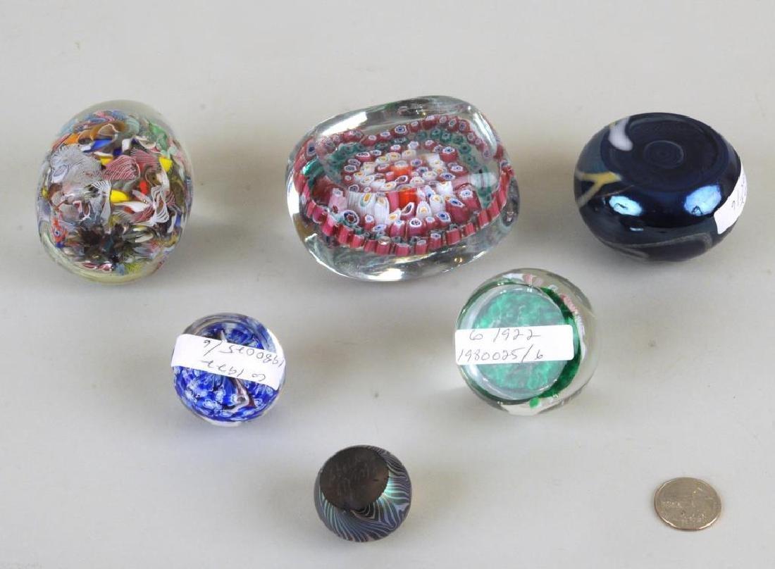 Six Vintage Millefiore/Art Glass Paperweights - 2