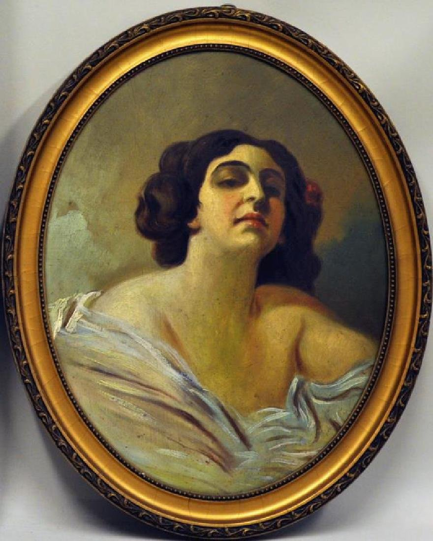 Polish School, Oval Framed Portrait of Woman