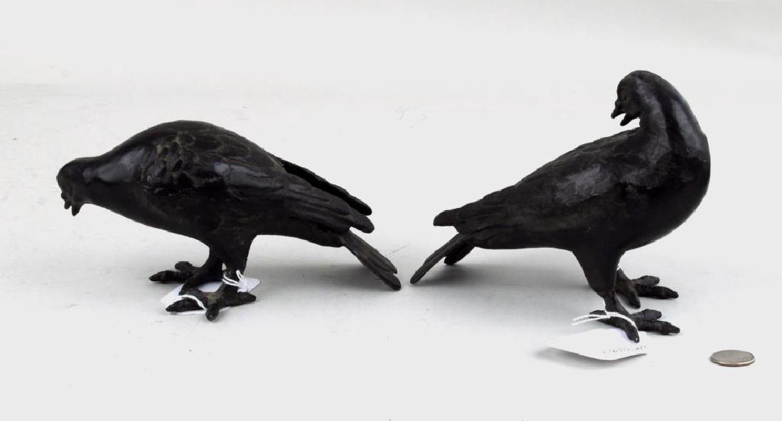 Pair Of Cast Bronze Birds - 2