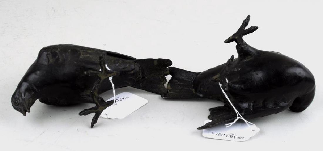 Pair Of Cast Bronze Birds - 3
