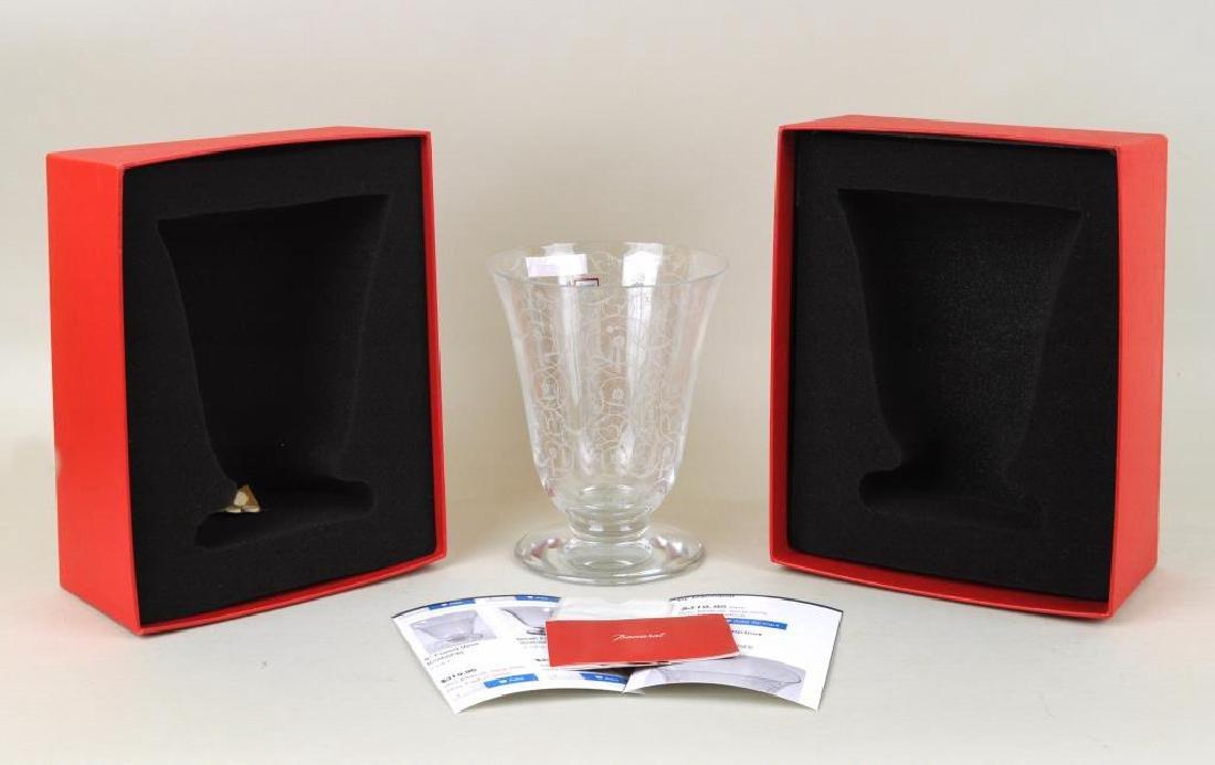 Baccarat Crystal Etched Floral Vase