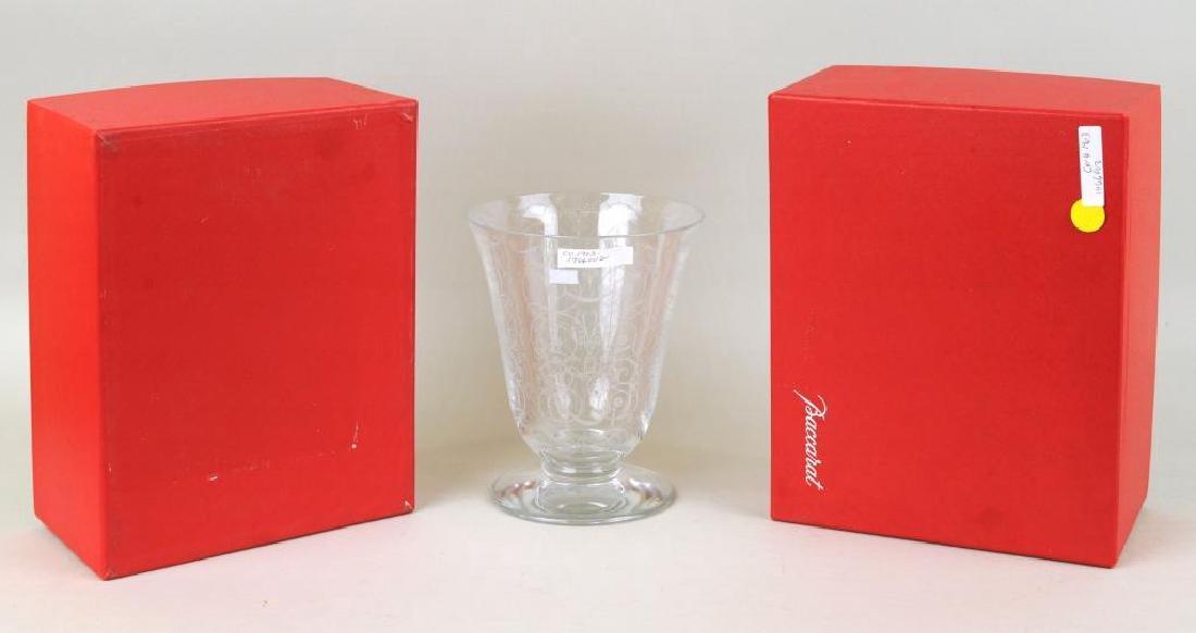 Baccarat Crystal Etched Floral Vase - 2