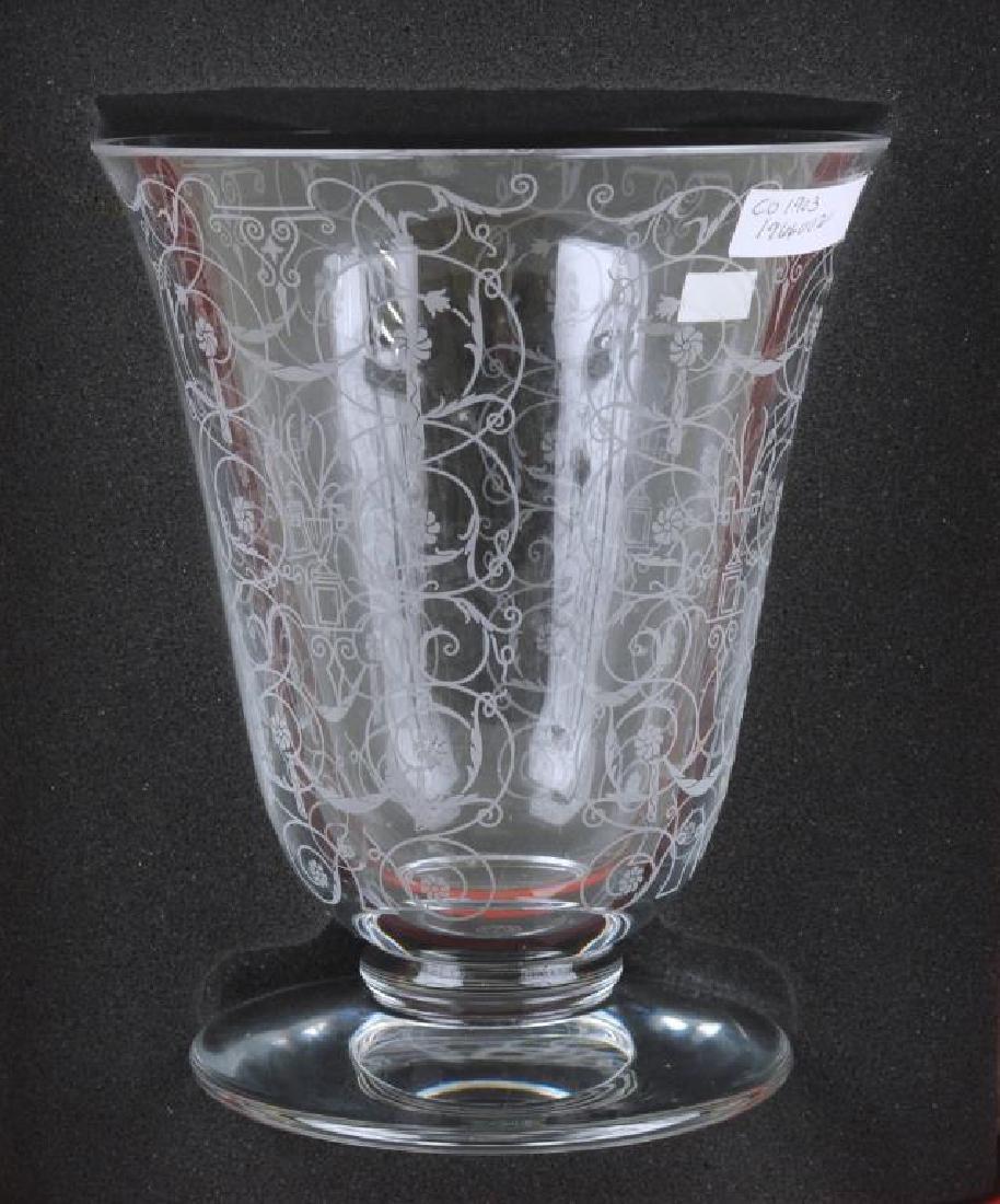 Baccarat Crystal Etched Floral Vase - 5