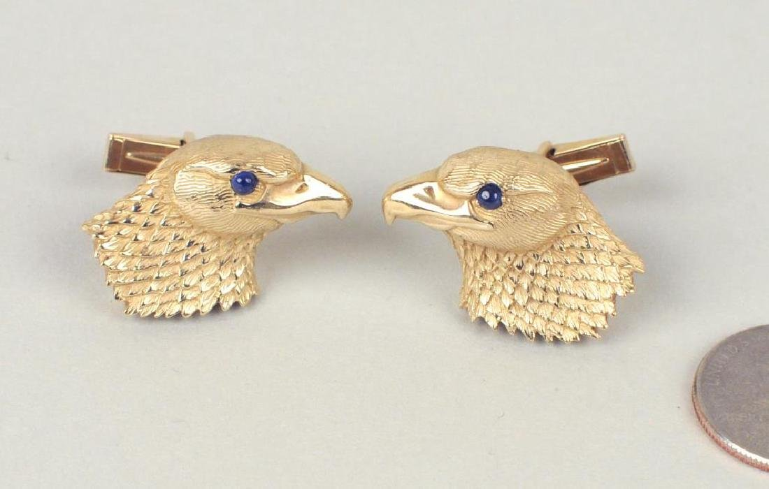 Pair Jaylen 14K & Blue Stone Eagle Head Cuff Links