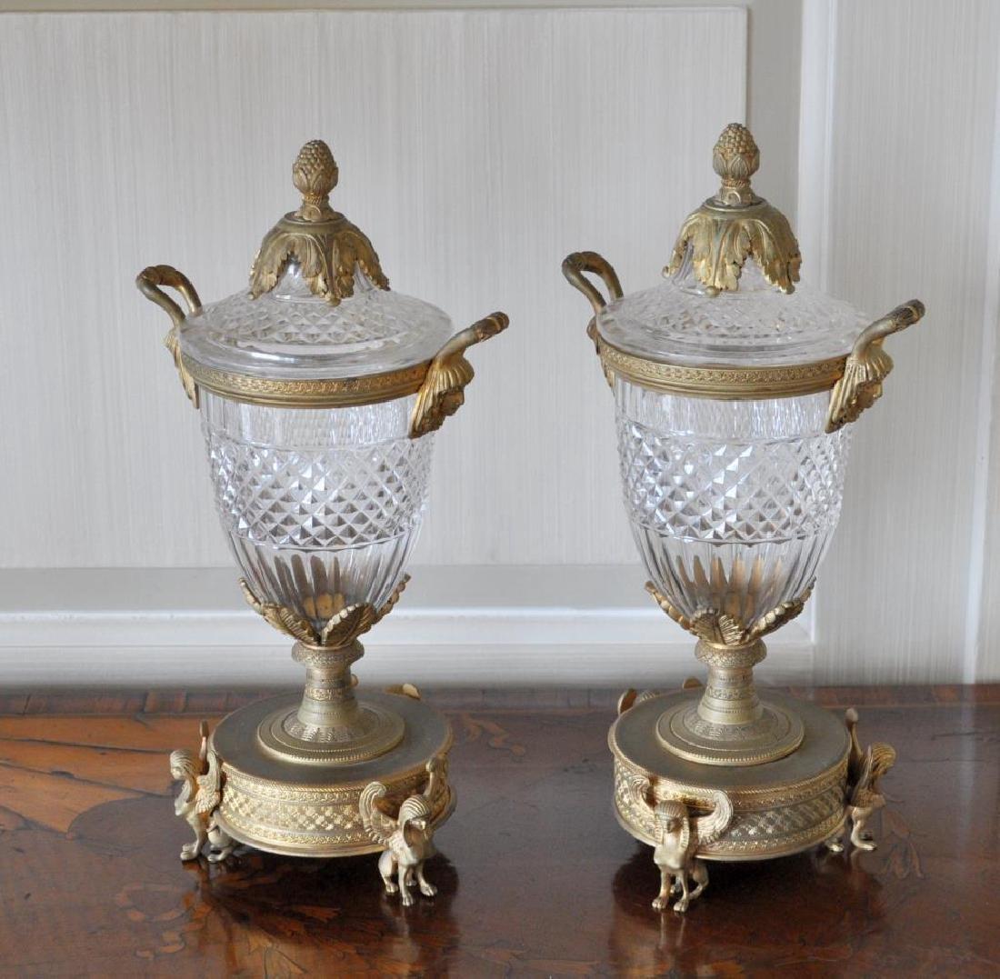 Pair Crystal & Gilt Metal Neoclassical Style Jars