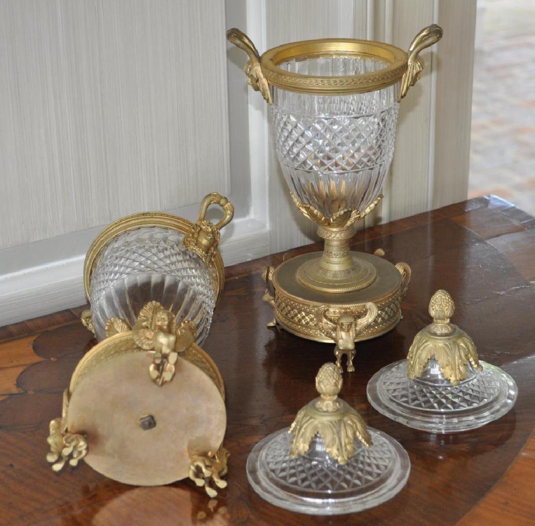 Pair Crystal & Gilt Metal Neoclassical Style Jars - 2