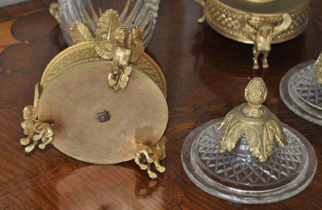 Pair Crystal & Gilt Metal Neoclassical Style Jars - 3
