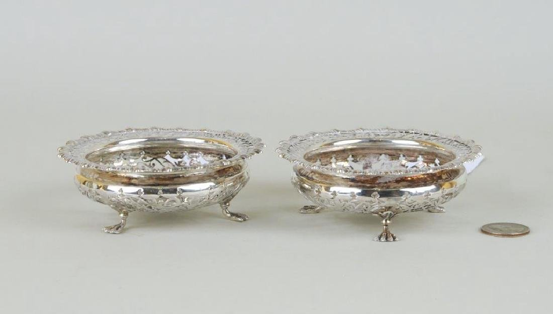 Pair English Sterling Silver Pierced Footed Bowls