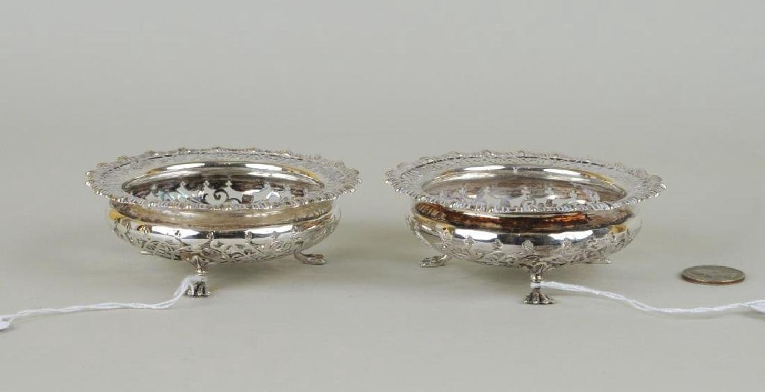 Pair English Sterling Silver Pierced Footed Bowls - 2