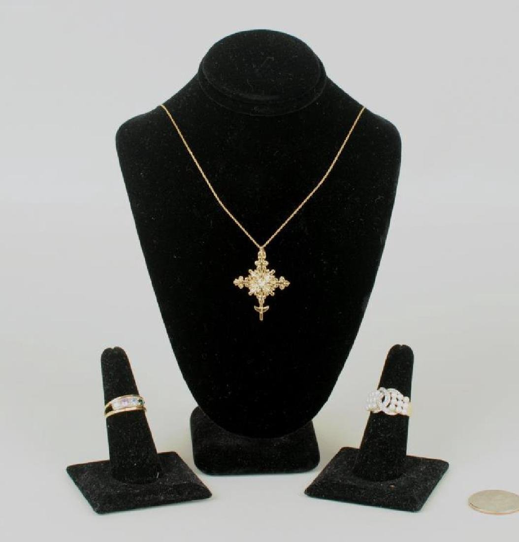 14K Gold Van Cott Crucifix Necklace, & 2 Rings