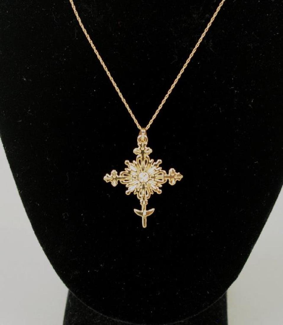 14K Gold Van Cott Crucifix Necklace, & 2 Rings - 2