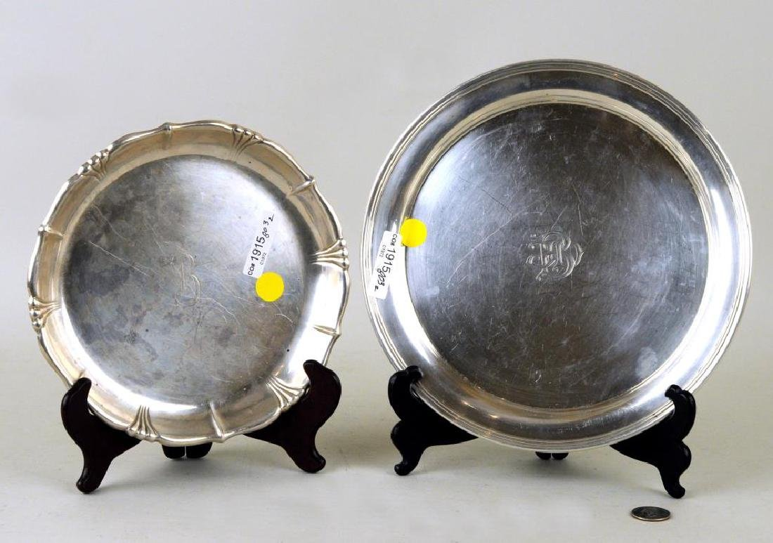 Two Sterling Round Trays