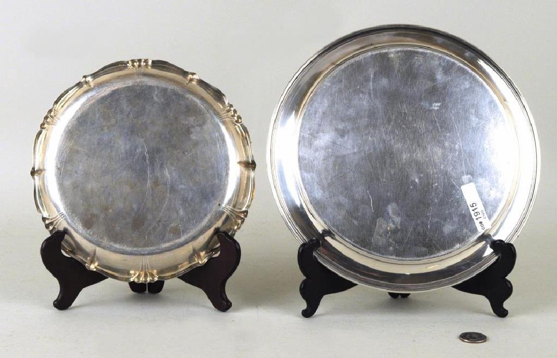 Two Sterling Round Trays - 2