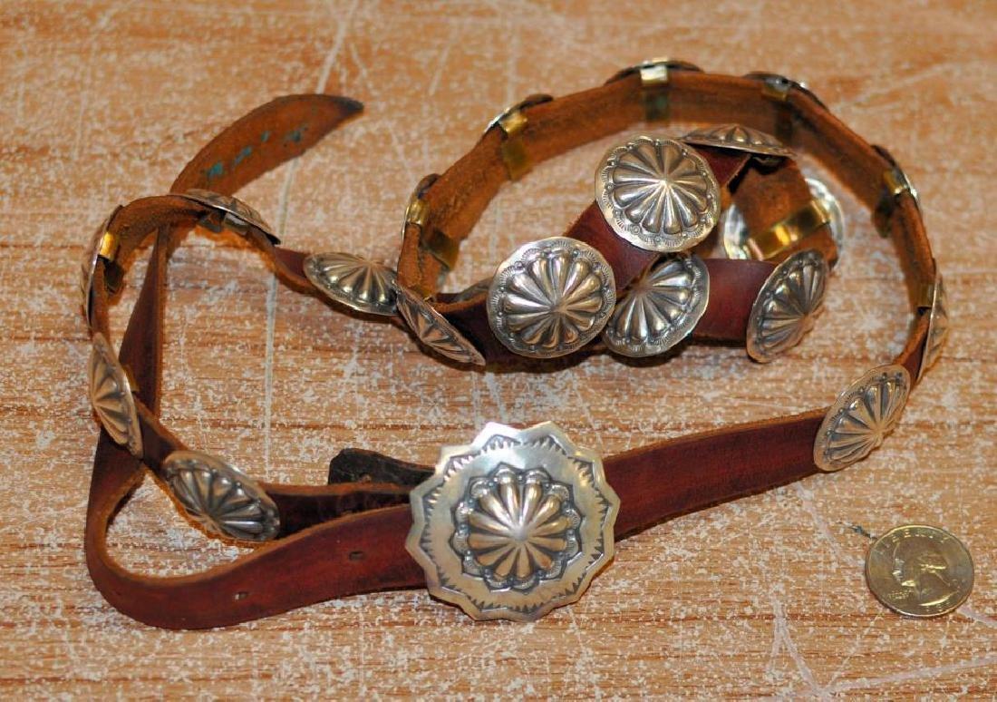 Vintage Navajo Stamped Silver Concho Belt Buckle