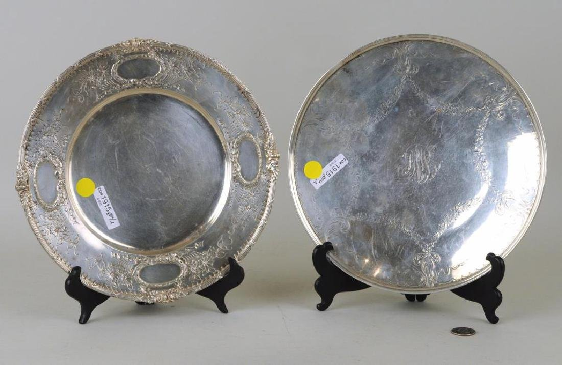 Two Round Sterling Engraved Trays
