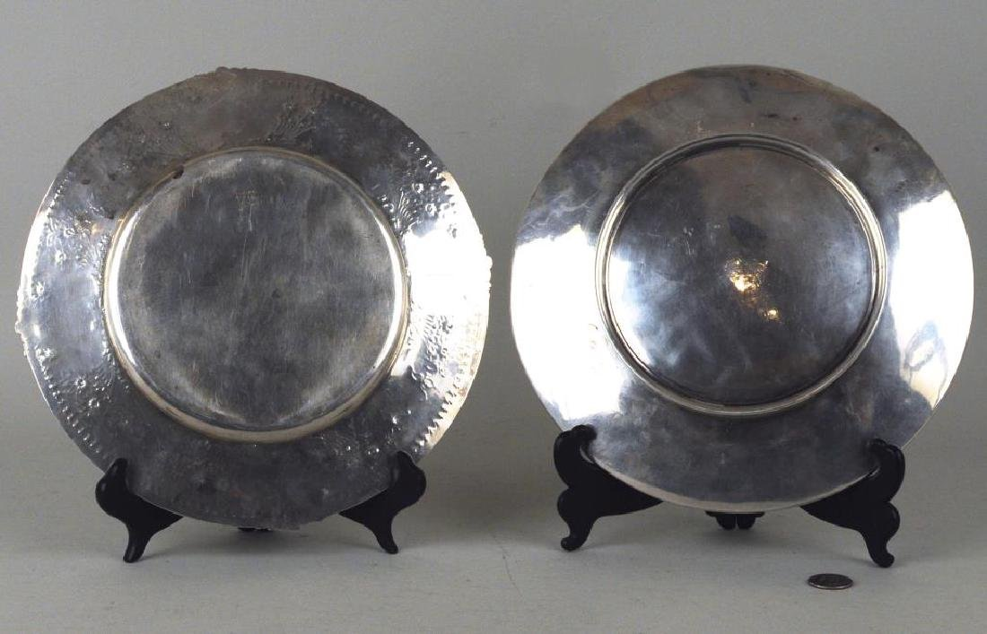 Two Round Sterling Engraved Trays - 2