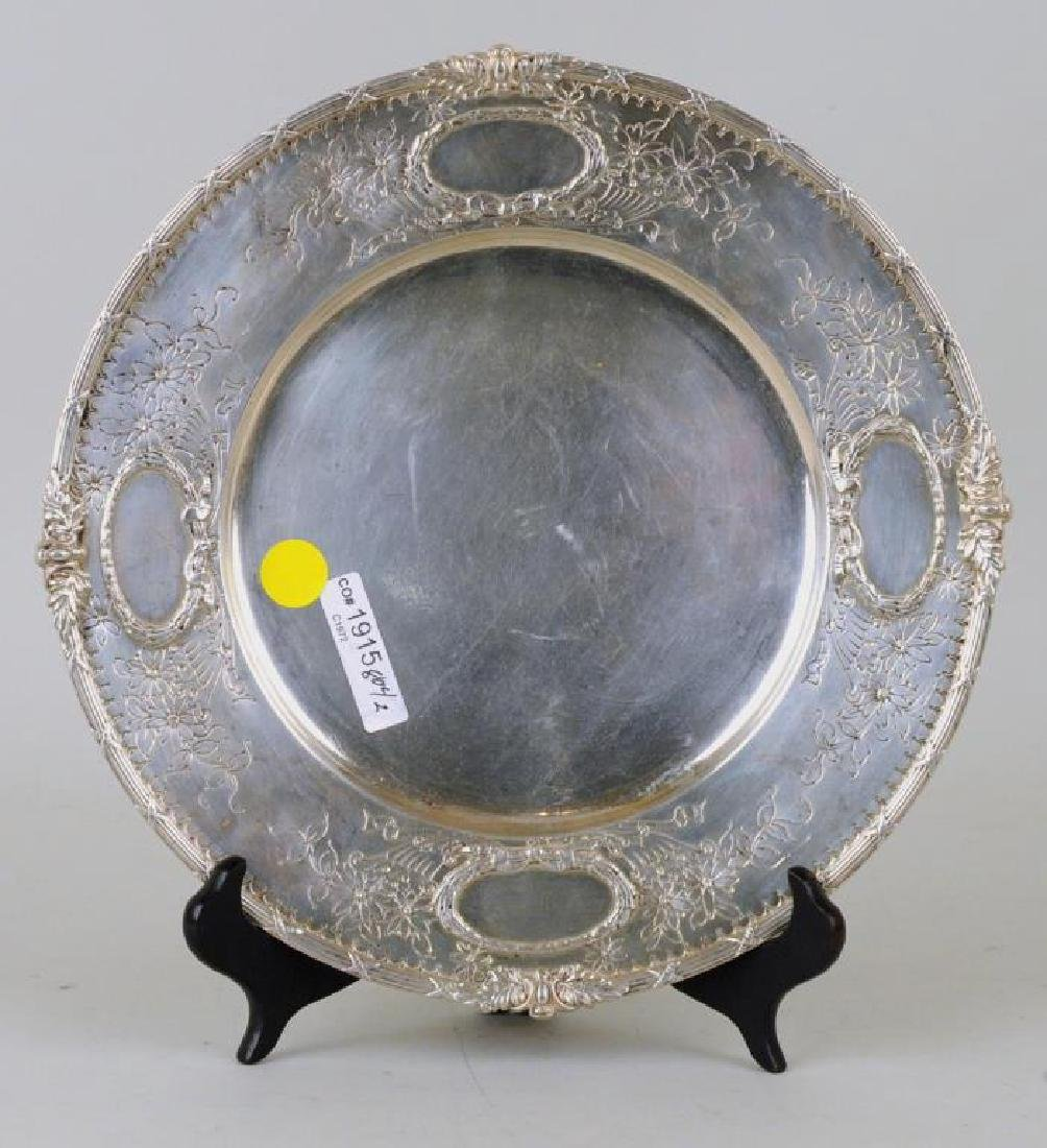 Two Round Sterling Engraved Trays - 3
