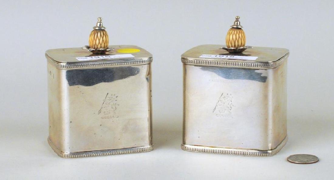 Pair English Sterling Silver Tea Caddies