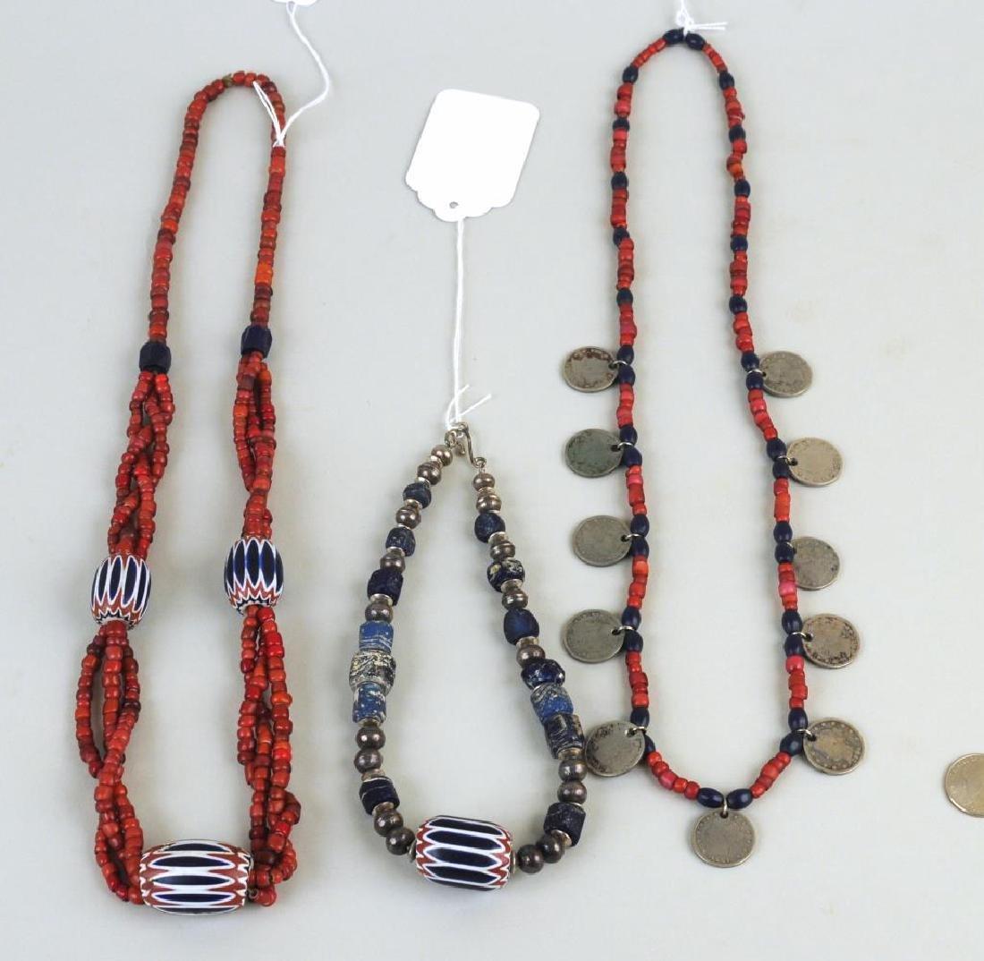 Three Trade Bead, Silver Bead & Coin Necklaces