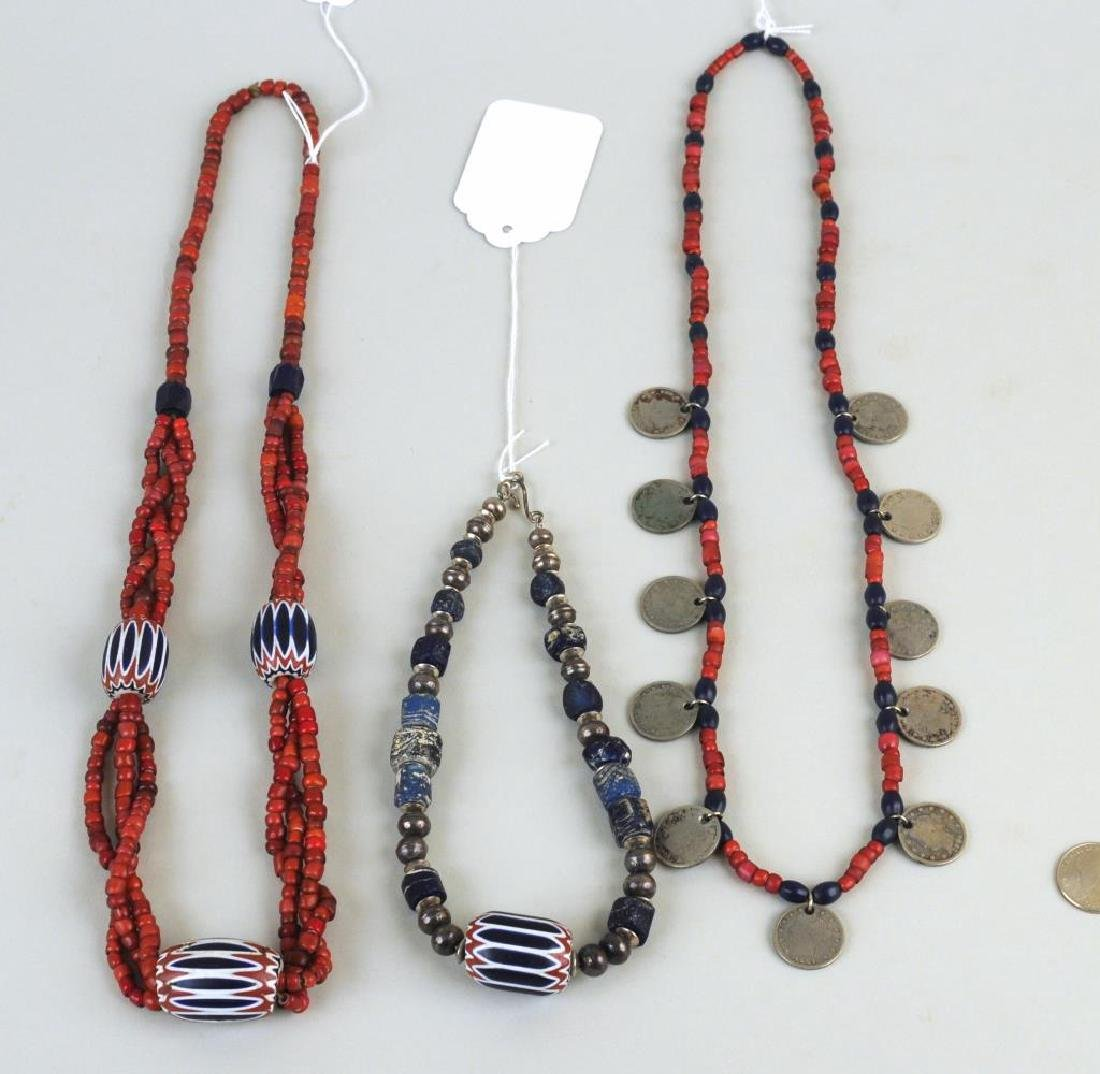 Three Trade Bead, Silver Bead & Coin Necklaces