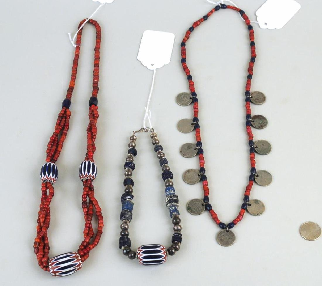 Three Trade Bead, Silver Bead & Coin Necklaces - 2