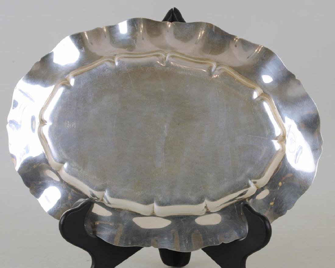 Set Three Sterling Scalloped Oval Trays - 6
