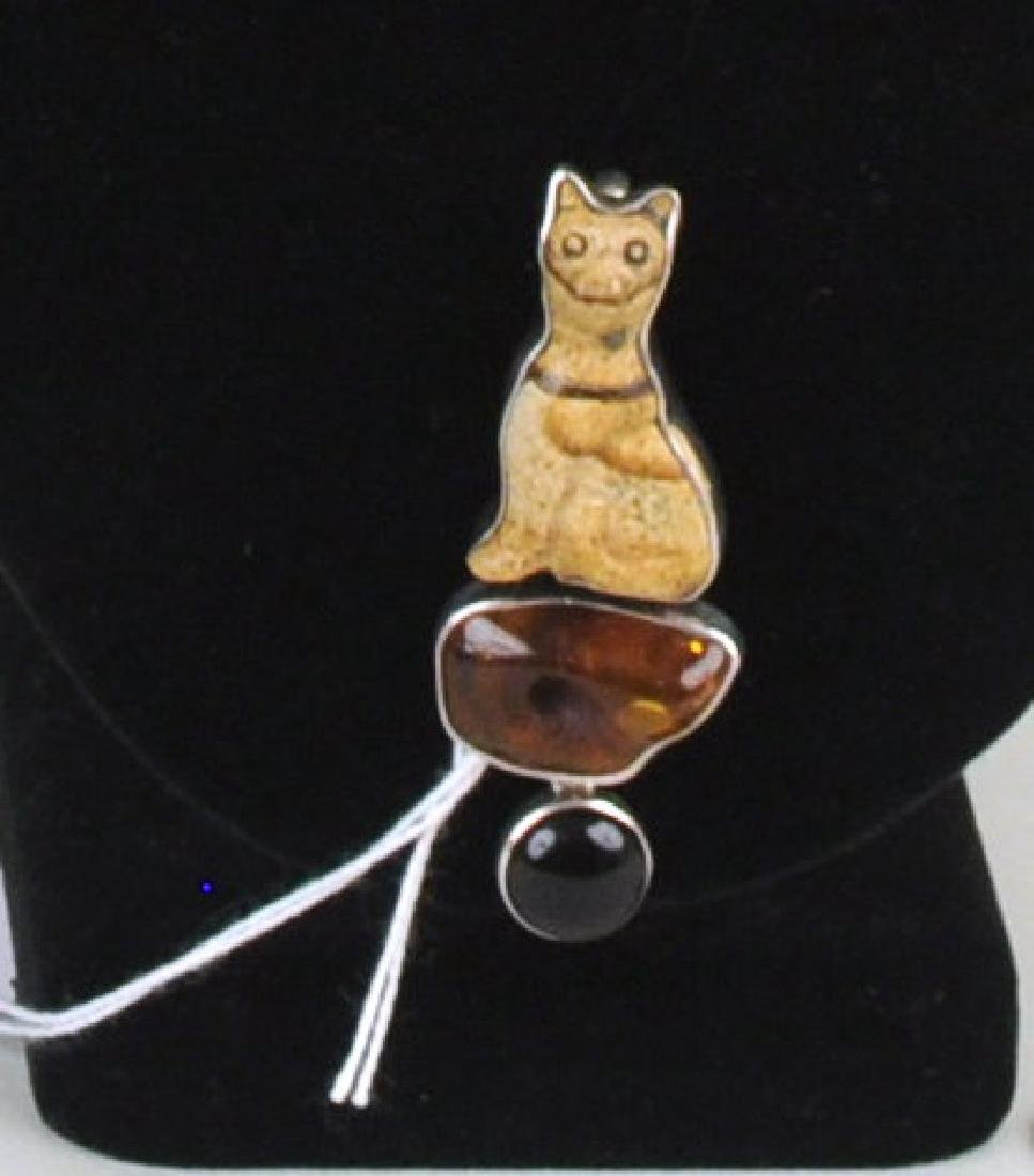 Amy Kahn Russell Turtle Necklace & Cat Pin - 5