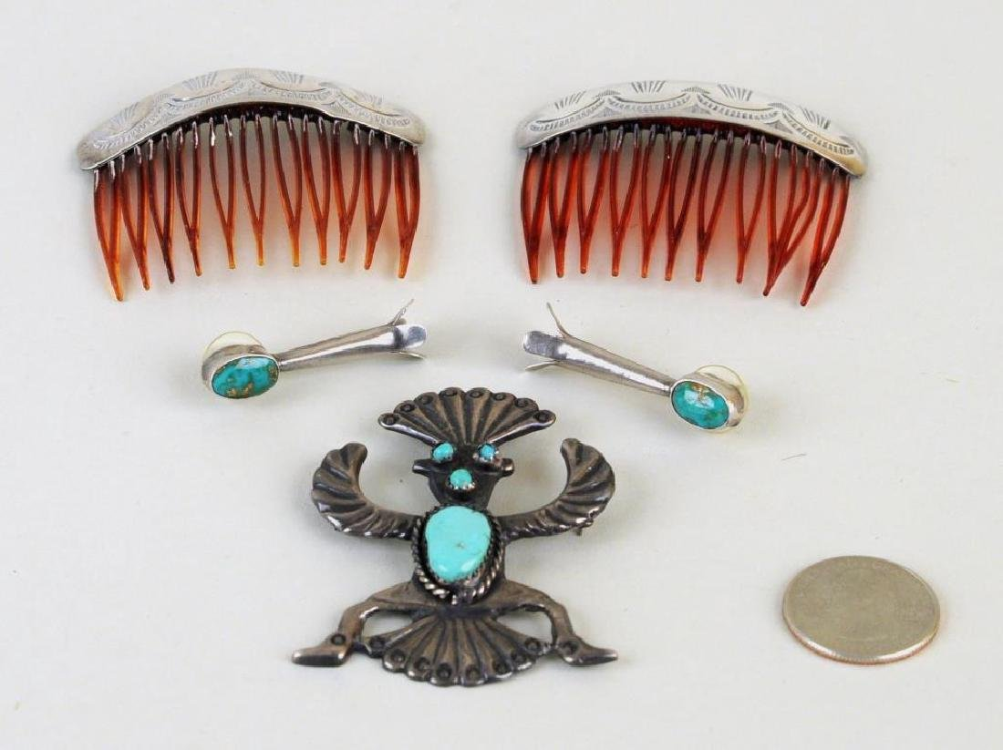 3 Native American Silver & Turquoise Jewelry Items