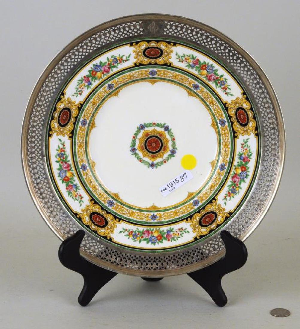 Sterling Mounted Minton Dinner Plate