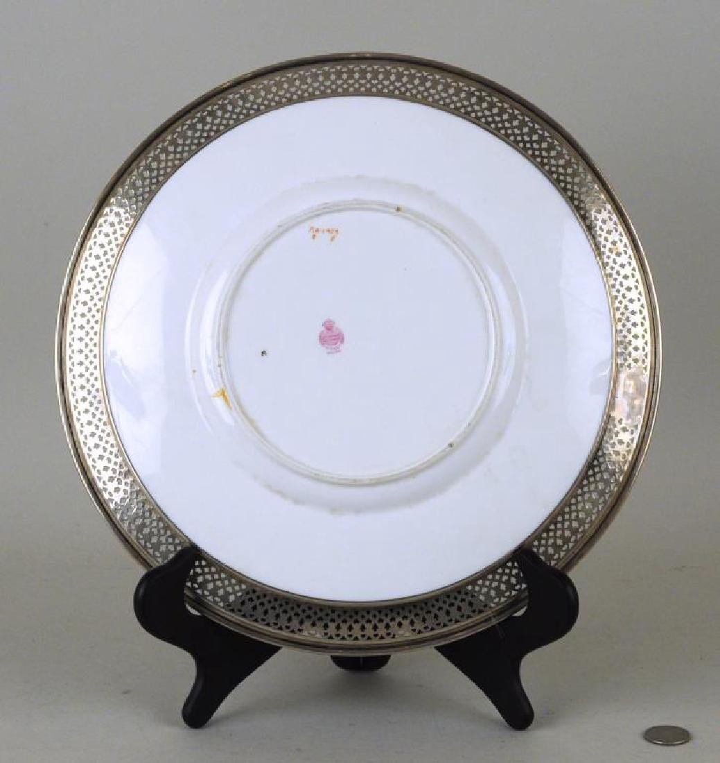 Sterling Mounted Minton Dinner Plate - 2