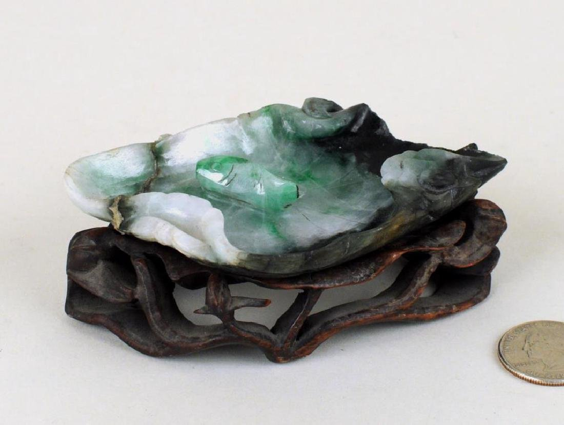 Chinese Carved Jade Lotus Leaf Form Bowl