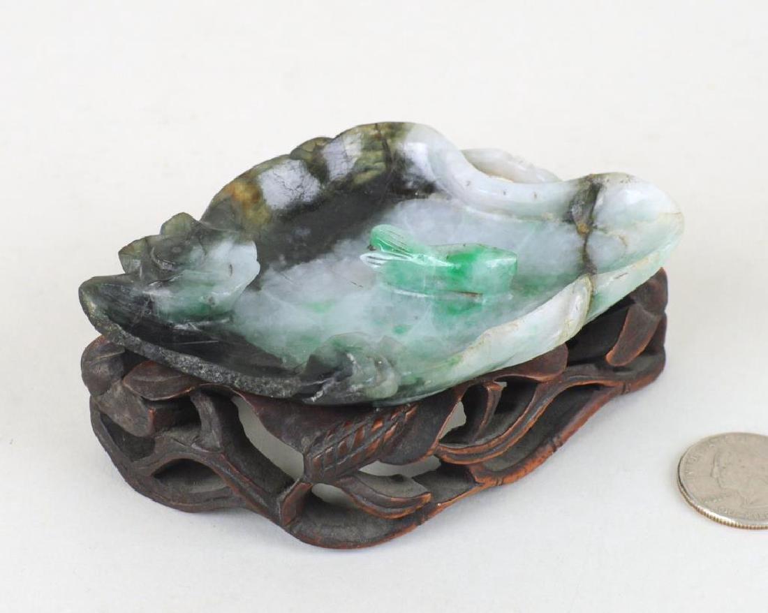 Chinese Carved Jade Lotus Leaf Form Bowl - 3
