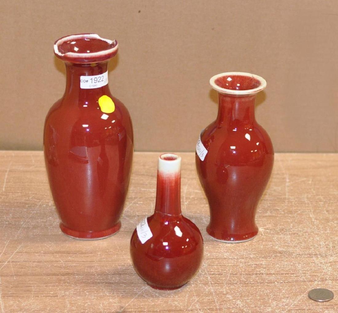 Three Chinese Porcelain Oxblood Glaze Vases