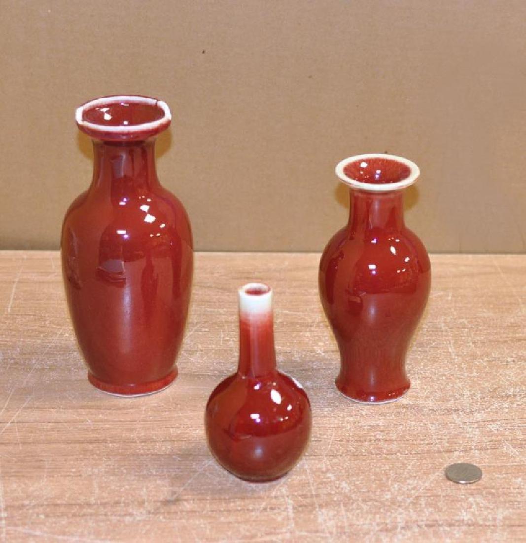 Three Chinese Porcelain Oxblood Glaze Vases - 2