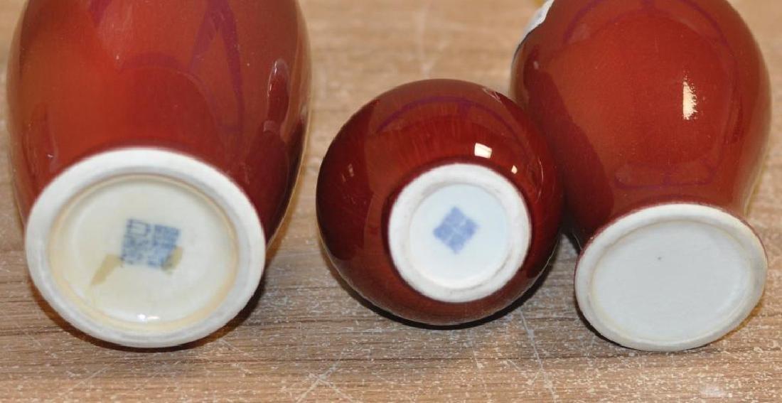 Three Chinese Porcelain Oxblood Glaze Vases - 3