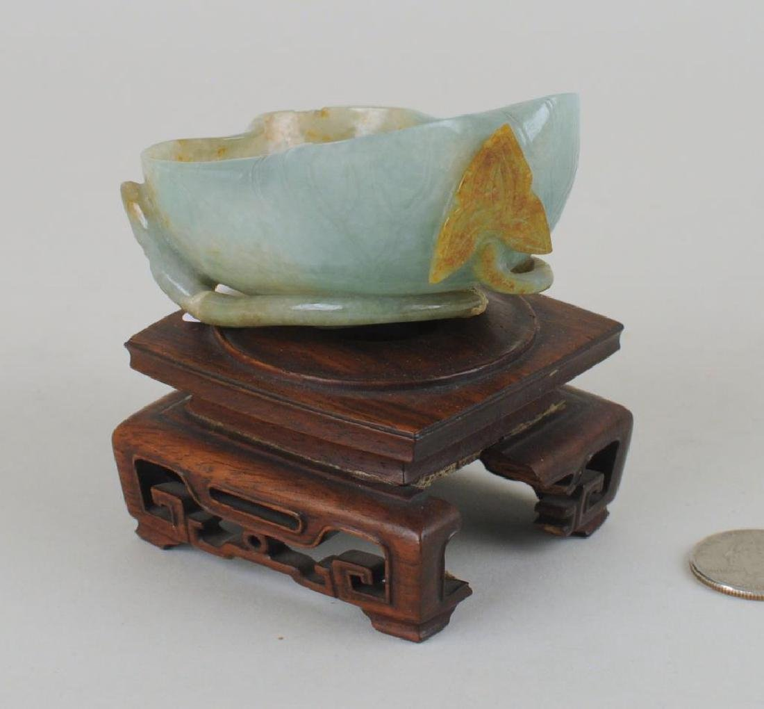 Chinese Carved Jade Lotus Form Bowl On Wood Stand