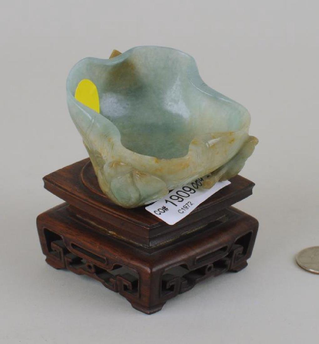 Chinese Carved Jade Lotus Form Bowl On Wood Stand - 2